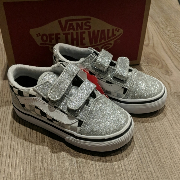 New! Vans 'Old Skool' Glitter Checkerboard Shoes NWT